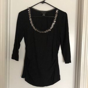 WHBM 3/4 sleeve top with bling